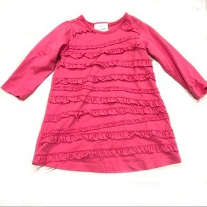 Hanna Andersson Pink Ruffle Tshirt Dress 80 Spring